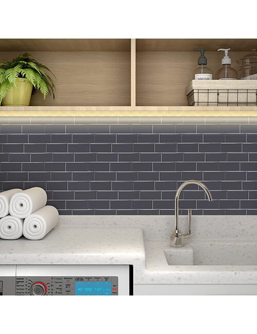 peel stick gray tile decoartion