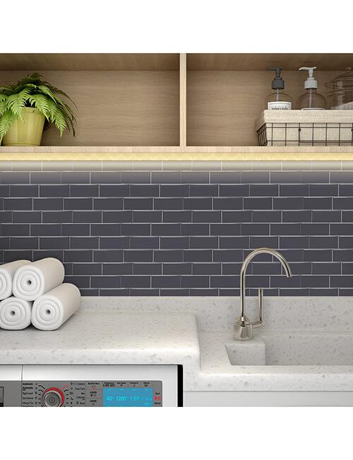 peel stick gray tile decoartion