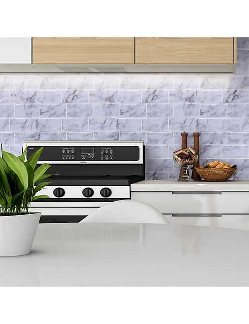 peel stick grey subway wall tile backsplash