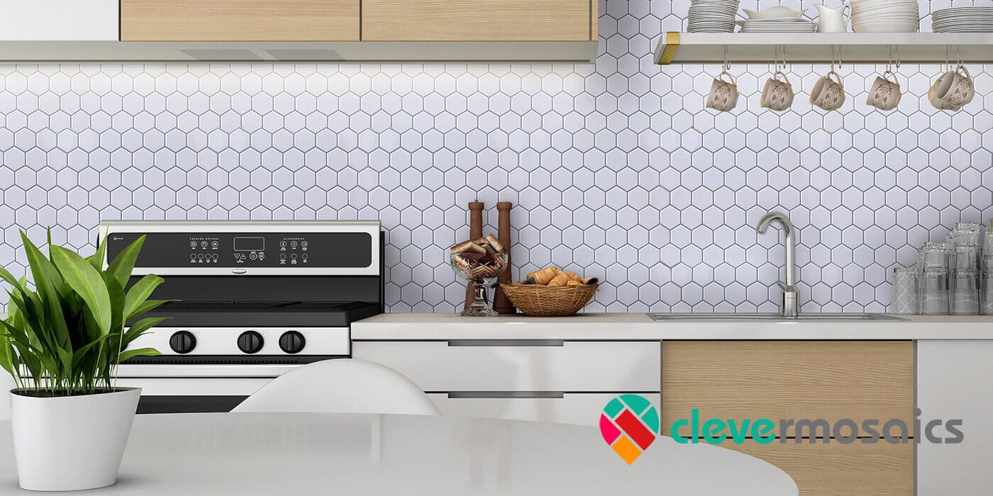 white hexagon tile kitchen