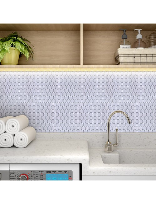 sticky white hexagon tile laundry room