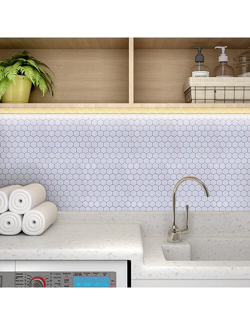 sticky white hexagon tile laundry room