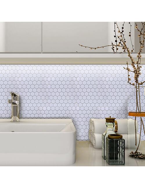 white hexagon tile bathroom
