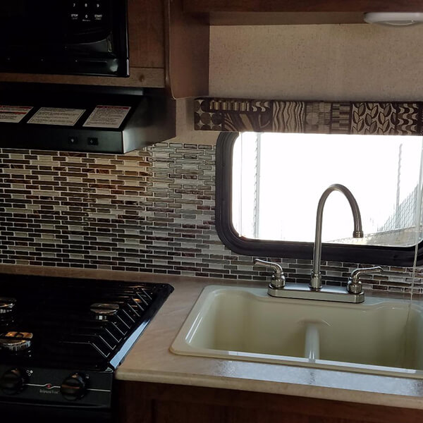 RV camper peel stick backsplash