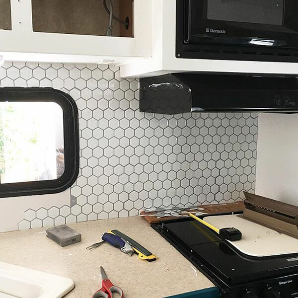 add hexagon backsplash to RV