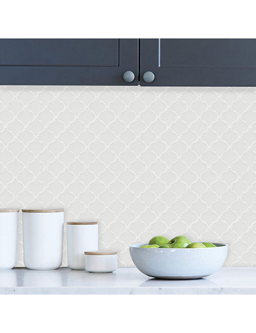 white arasbeque peel and stick vinyl tile for home walls