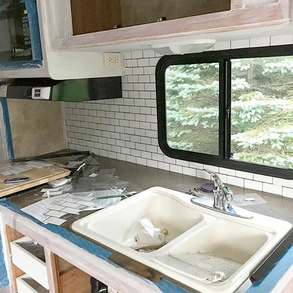 self adhesive vinyl backsplash for RV kitchen