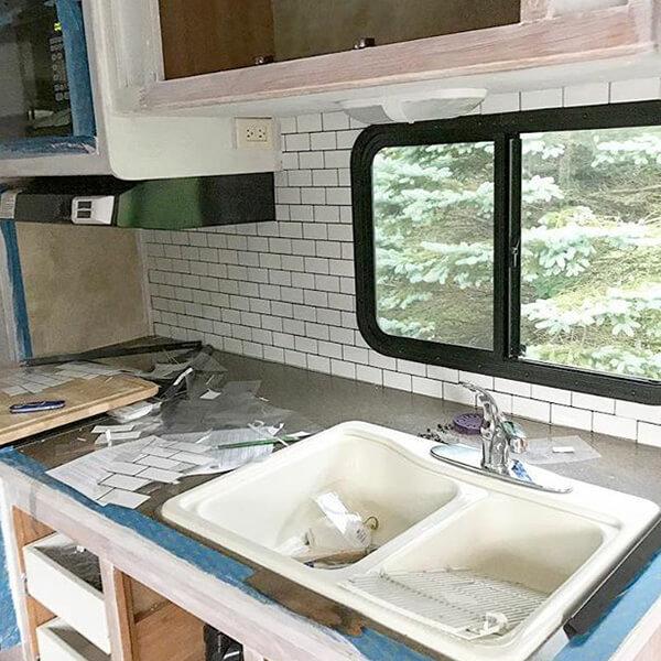 self adhesive vinyl backsplash for RV kitchen