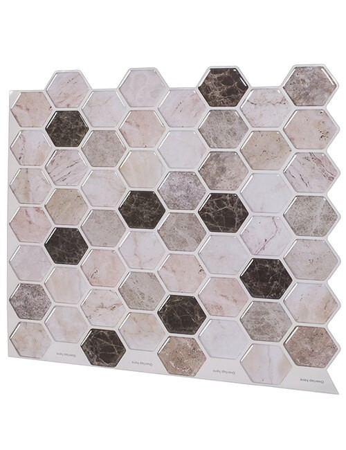 hexagon mosaic beige marble tile