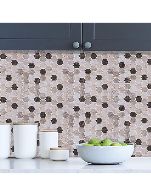 peel and stick hexagon marble wall tile