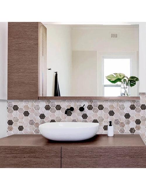 peel and stick hexagon marble tile for bathroom backsplash