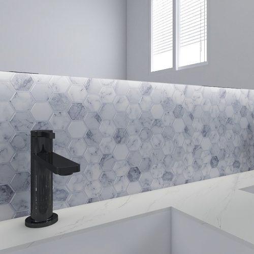 Carrara Marble Hexagon Tile Peel Stick Design CM80516 (6pcs pack) photo review