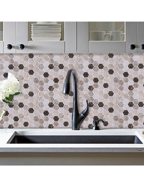 peel and stick marble hexagon tile for kitchen walls