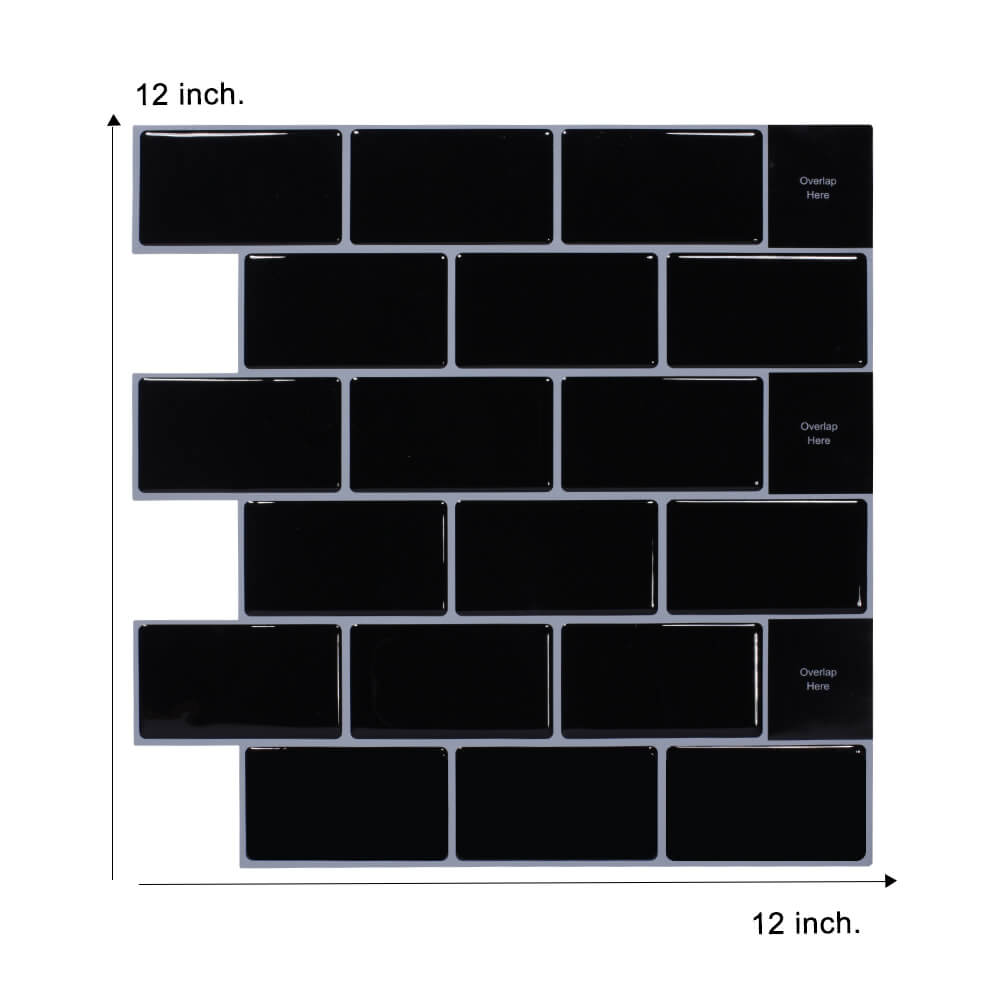 12 x 12inch black subway tile