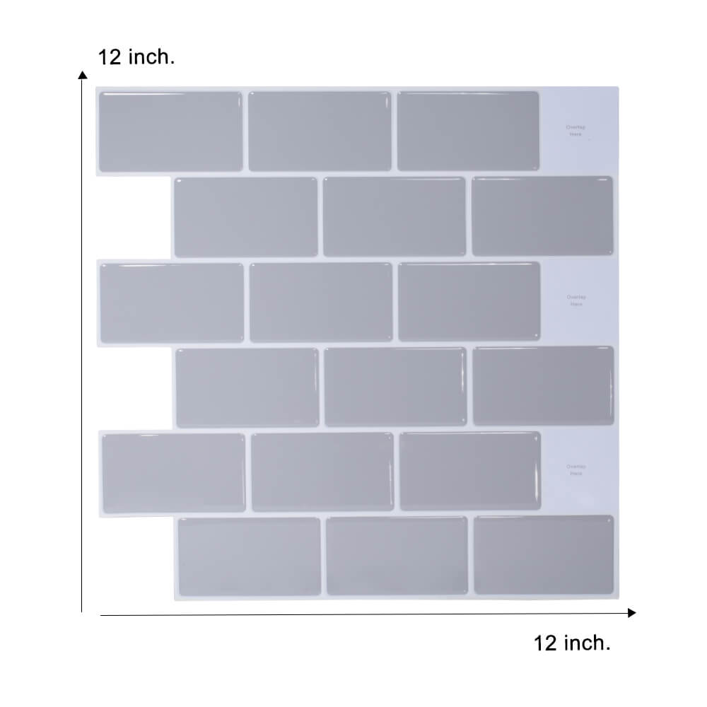 12 x 12 inch grey subway tile