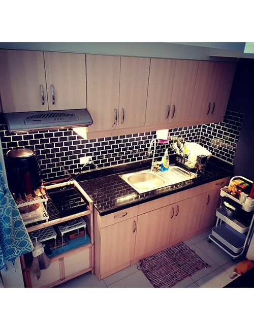 black peel and stick tile backsplash