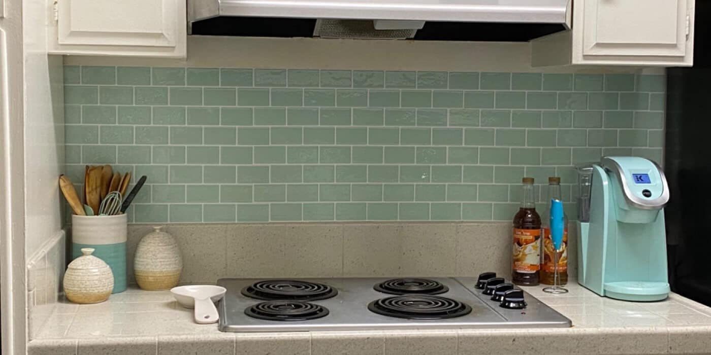 green peel and stick tile backsplash