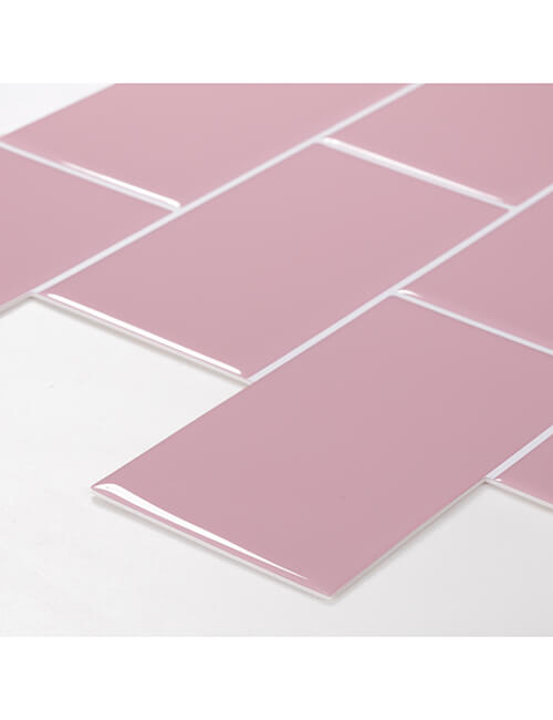 thick peel and stick pink subway tile backsplash