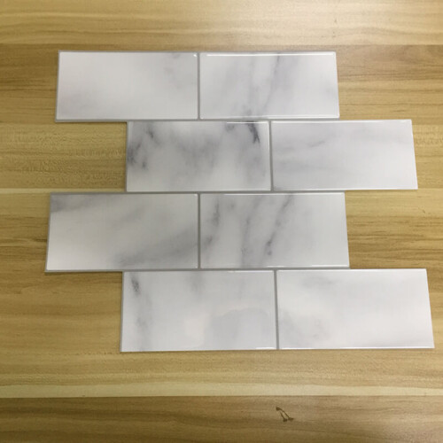 Peel and Stick White Marble Subway Tile CM81700 (6pcs pack) photo review