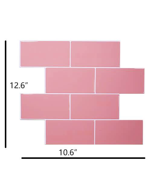 big size peel and stick pink subway tile