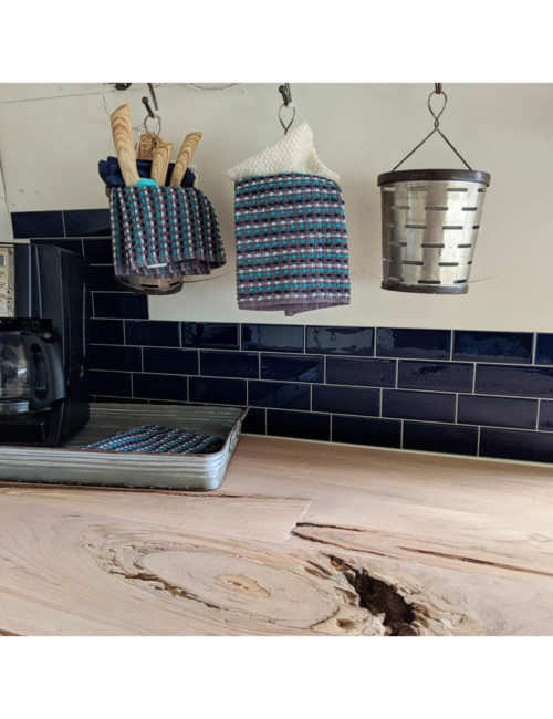 blue subway tile backsplash kitchen