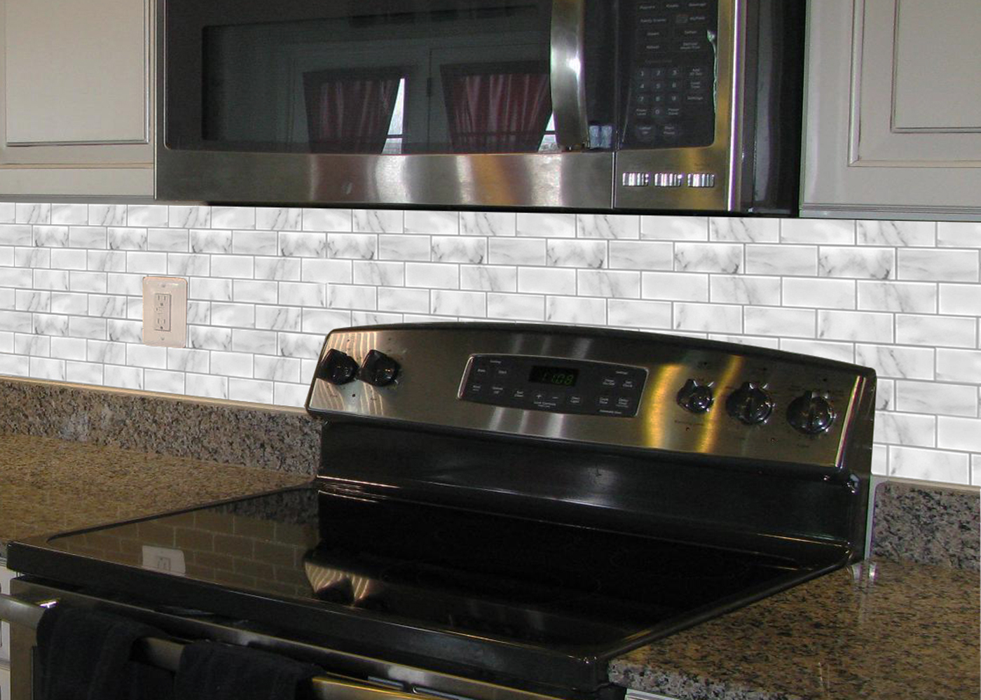 kitchen backsplash white marble subway tile
