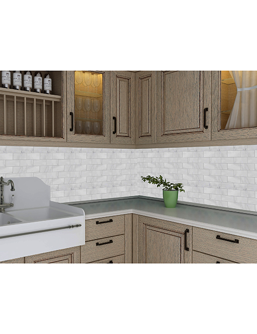 white marble subway tile kitchen