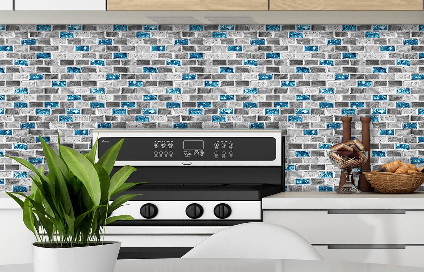 decorative glass and stone look vinyl tile for kitchen backspalsh