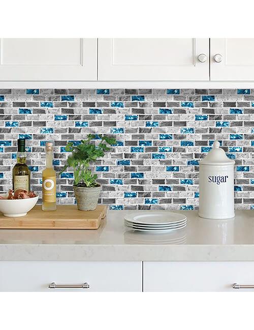 Stick on kitchen backsplash glass and stone tile