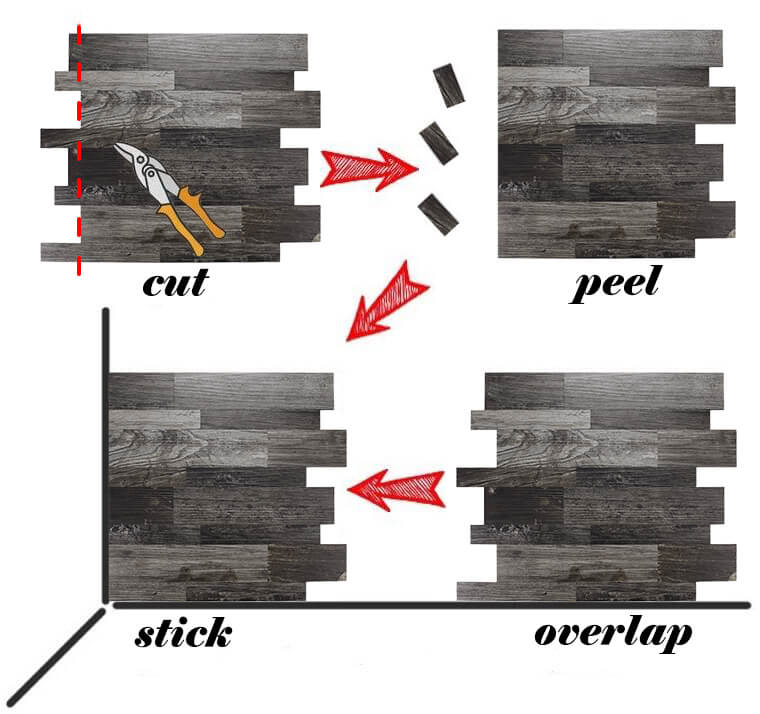 4 steps to install peel stick wood tile