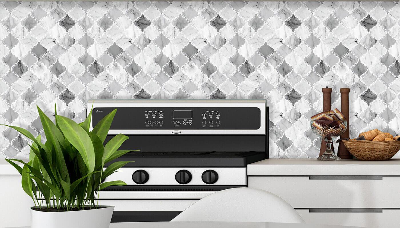 peel and stick lantrn marble vinyl tile for kitchen backsplash