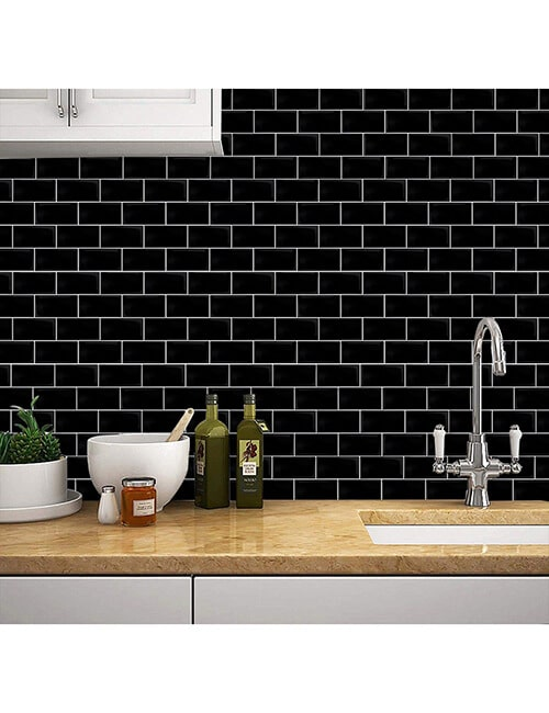 strong adhesive backed black tile