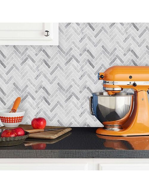 herringbone peel and stick tile kitchen