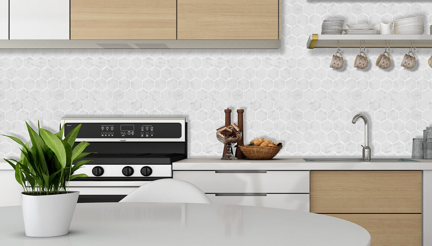 hexagon white ocean marble tile kitchen