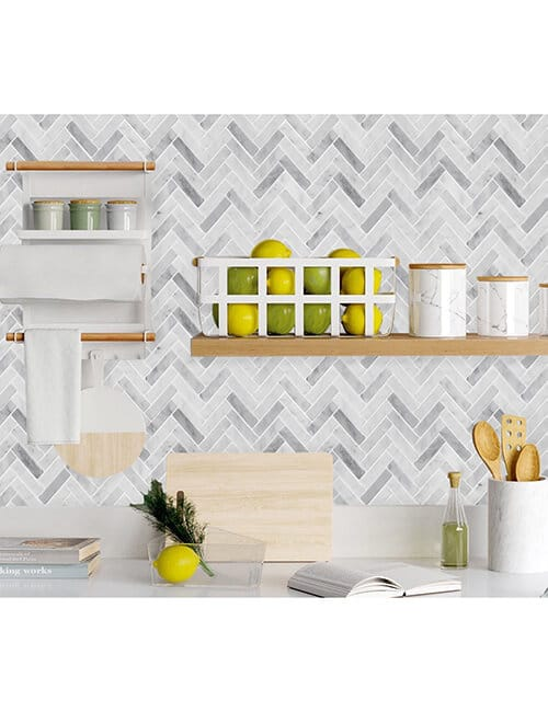 peel and stick herringbone marble wall tile