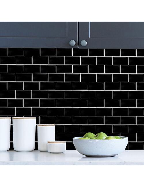 kitchen backsplash peel and stick black subway tile