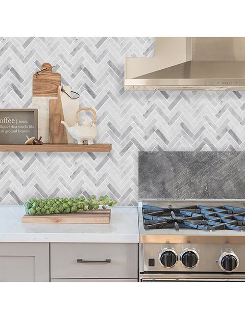 peel and stick herringbone tile fireplace