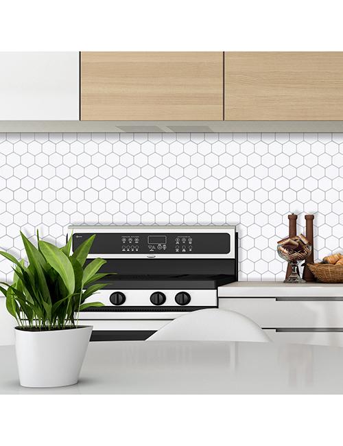 peel and stick white hexagon tile kitchen