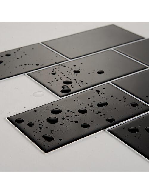 waterproof black subway tile backsplash