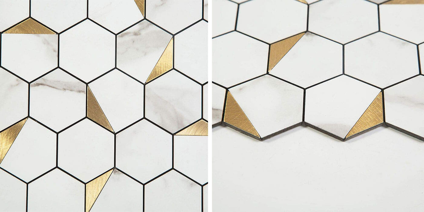 4mm thickness glossy hexagon marble stone aluminum mosaic tile