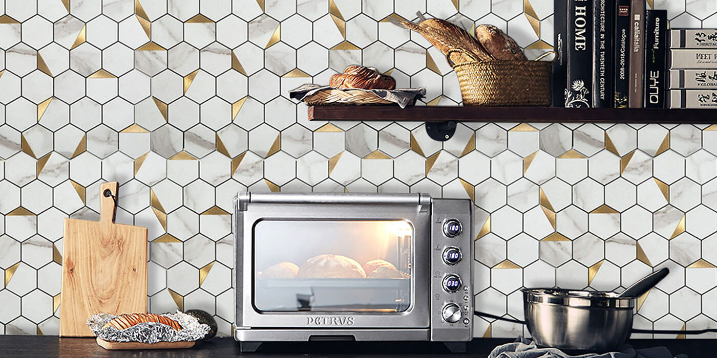 kitchen backsplash mosaic hexagon peel and stick stone marble tile