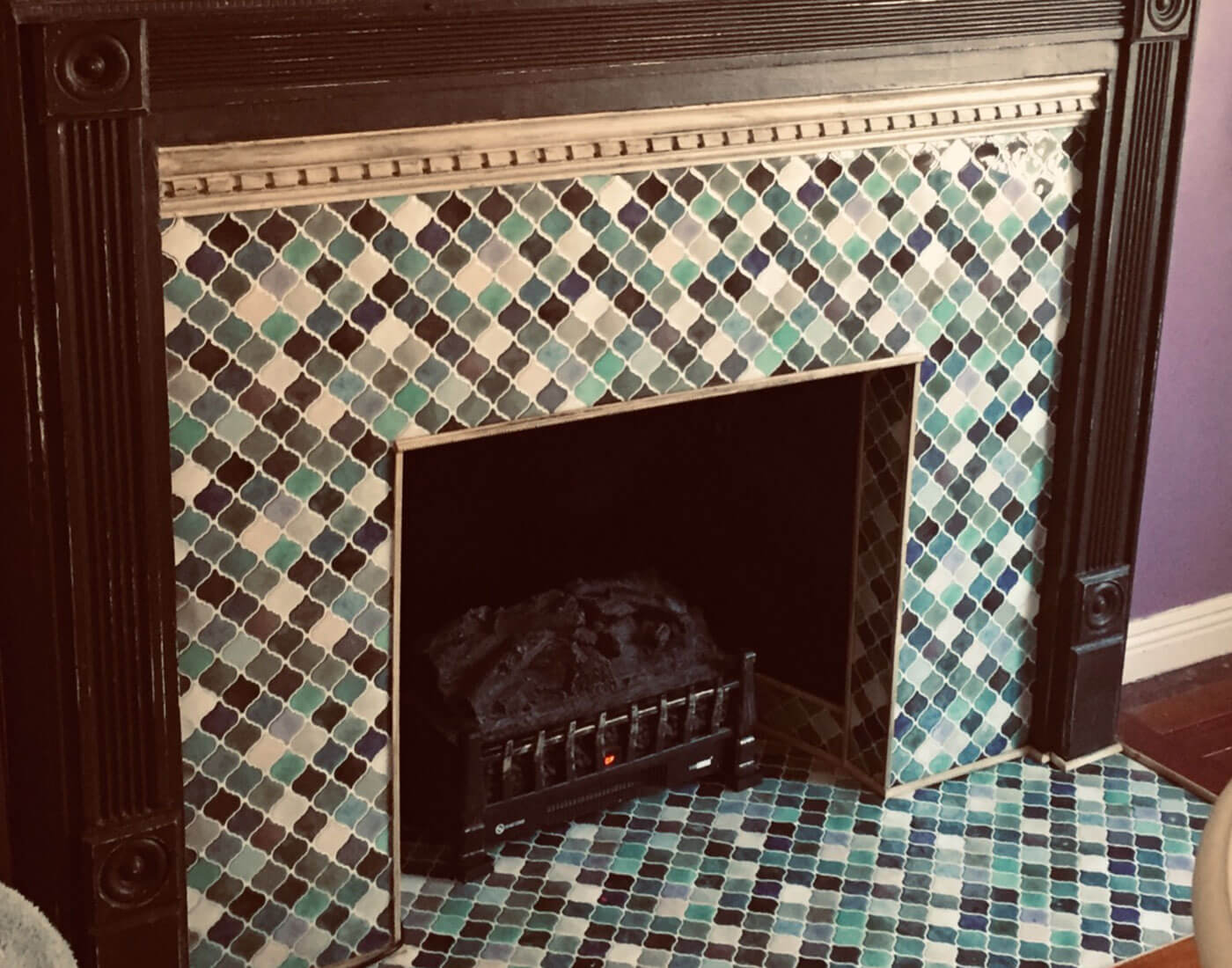 peel and stick colorful tile for fireplace