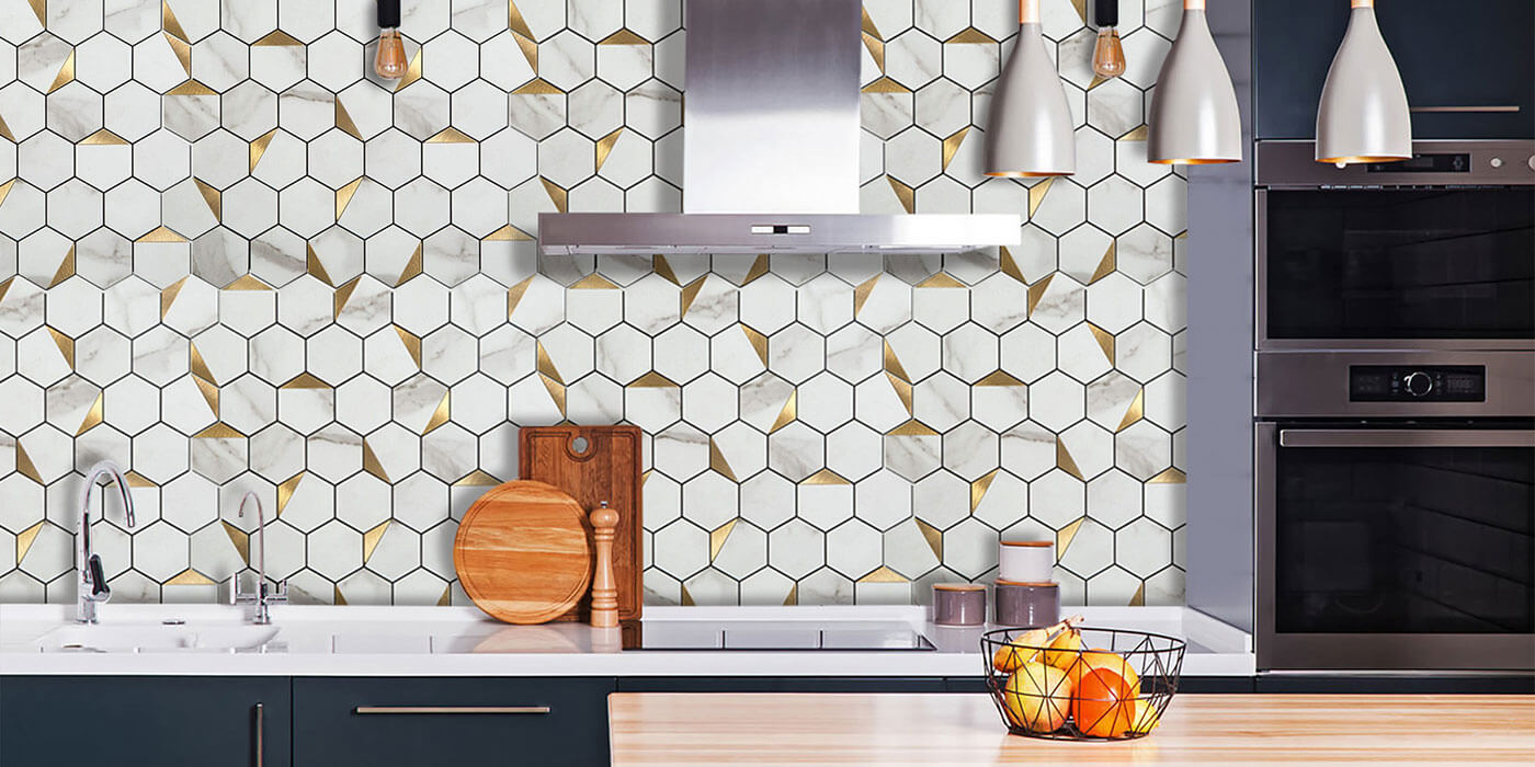 peel and stick hexagon mosaic tile for kitchen walls