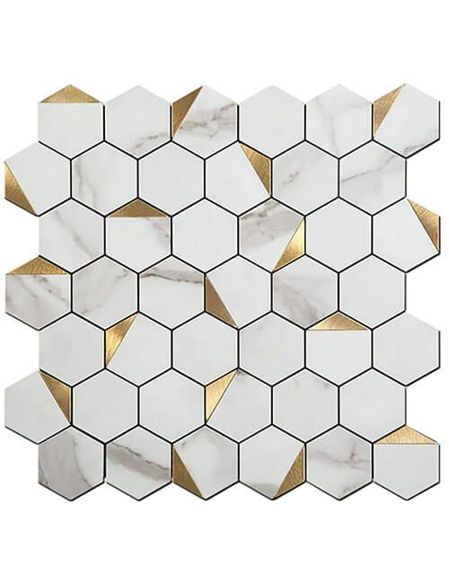 peel and stick hexagon marble aluminum tile
