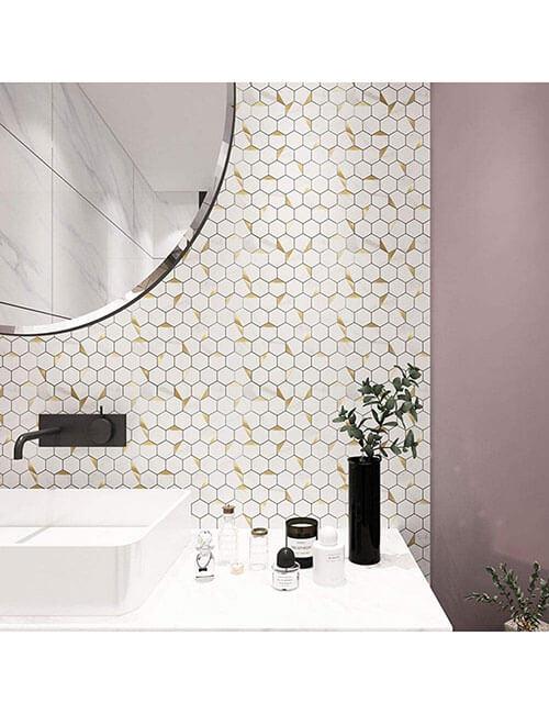 bathroom backsplash hexagon stone marble tile