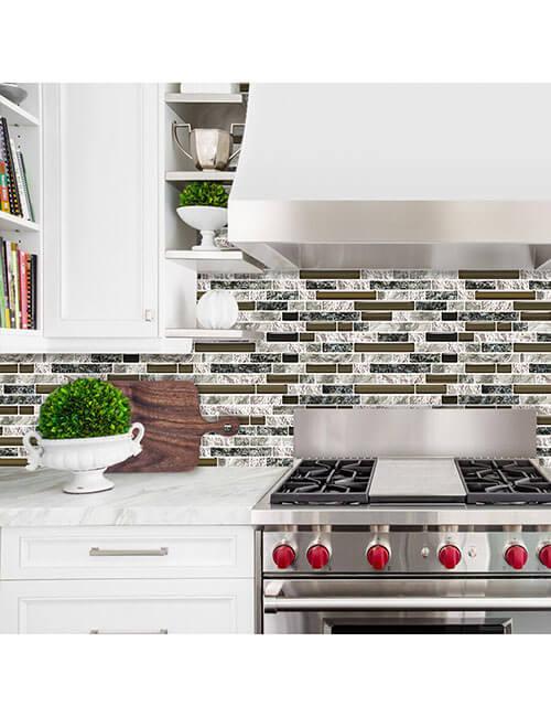 strip peel and stick stone mosaic tile for kitchen backsplash