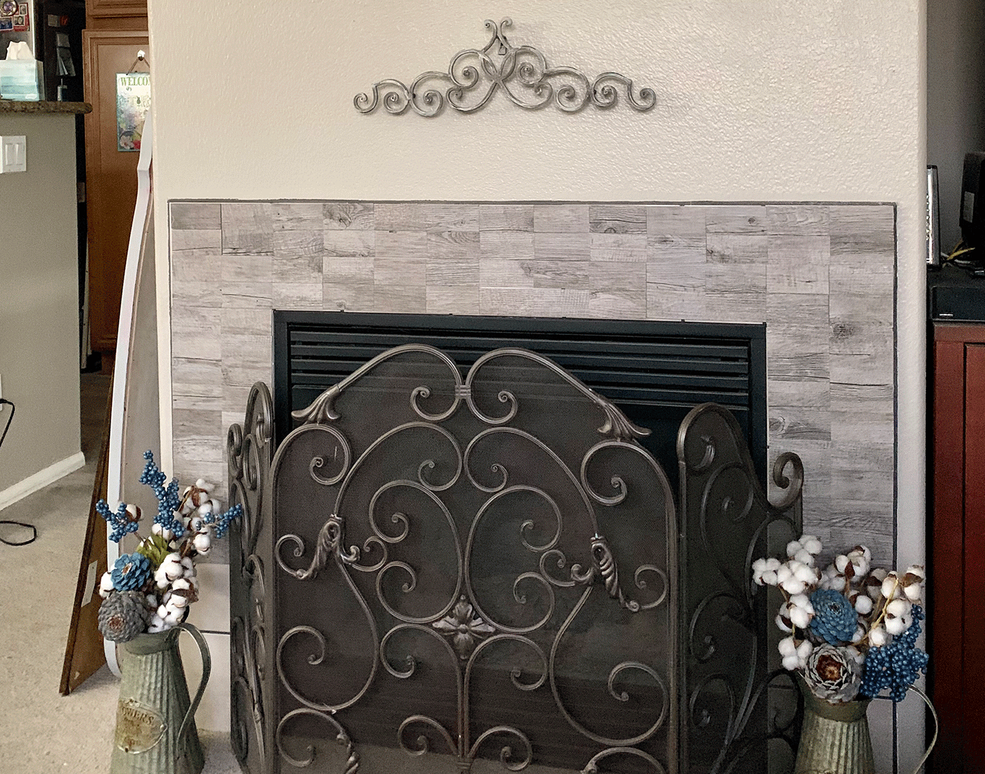 peel and stick wooden pattern tile for fireplace