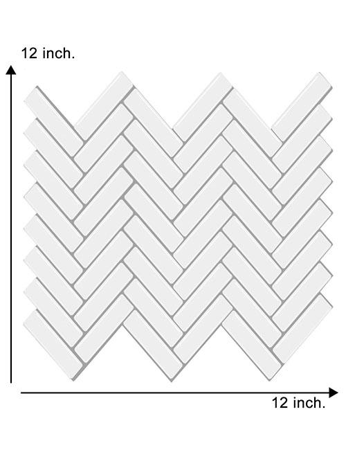 12 x 12inch white herringbone tile