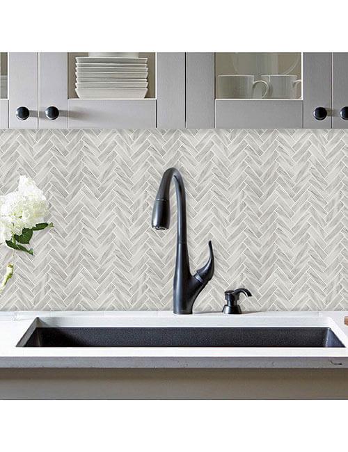 glossy mosaic herringbone stone look vinyl tile