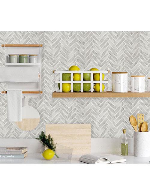 peel and stick herringbone vinyl tile for home walls